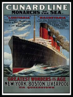 Cunard Line - Monarchs of the Sea Tin Sign at Art.co.uk