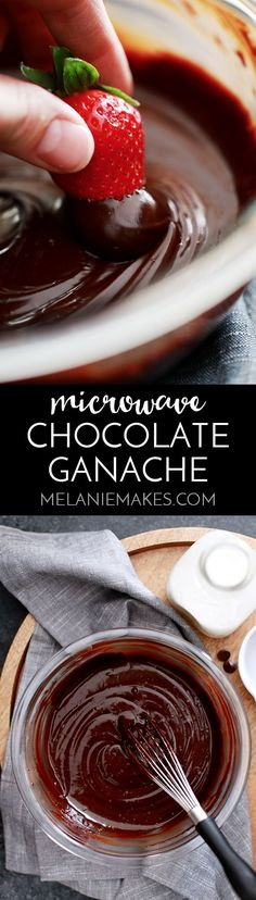 This two ingredient Microwave Chocolate Ganache comes together in less than five minutes and is amazing on it's own or as a glaze, sauce or filling for your favorite dessert. from @melaniebauer