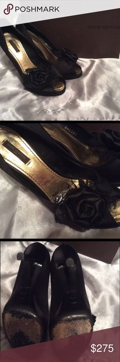 Louis Vuitton black satin peep-toe pumps These beautiful LV pumps are in great condition! I absolutely love these shoes, but they are just a size too large. They are black satin with rose accents at the toe and gold interior. Box and dust bag included. Louis Vuitton Shoes Heels