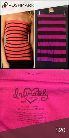 ✨🆕Free People Intimately Tube Top EUC. Color is fuchsia. Size M/L. Hand wash only. Available in grey and black as well. Price negotiable through the Offer button. Offers on bundles considered. No trades. Free People Tops Camisoles