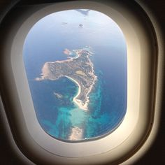 "When I see this (in a DESCENDING airplane!) I'm truly happy... Going ""home"" Ibiza Heaven ❤️"