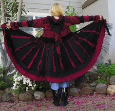 Sale -Recycled Sweater Coat, Upcycled,  Dark Shadows, Lined skirt, Gypsy, Stevie Nicks, Steampunk Coat, Carousel Coat