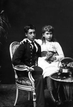 Prince Albert Victor, Duke of Clarence with his sister Princess Maud, later Queen Maud of Norway