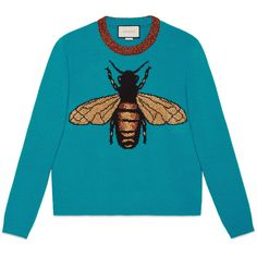 Gucci Bee Wool Knit Sweater (4.140 RON) ❤ liked on Polyvore featuring tops, sweaters, shirts, jumper, outerwear, ready-to-wear, turquoise, women, crew-neck sweaters and wool knit sweater
