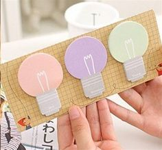 Light bulb sticky notes for those great ideas, page markers or fun memos. I love to use them as reminders, they brighten up my desk for sure! Office, Supplies, School, Cute