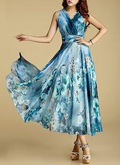 Chiffon Leopard Sleeveless Maxi Casual Dresses (1016045) @ floryday.com