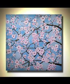 Original Fine Art Textured Pink Cherry Blossom Flowers