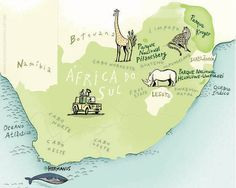 Map of South Africa from mundodosmapas.br - the site of Nik Neves and Marina Camargo South Africa Map, Manhattan Map, Kruger National Park, Information Graphics, Map Design, African Safari, Illustrations And Posters, Me On A Map, The Incredibles
