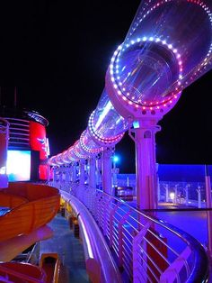 Aqua Duck slide on the Disney Dream at night- fun!