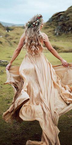 27 Colored Wedding Dresses To Make You A Stylish Bride ❤ colored wedding dresses a line low back champagne rustic leannemarshallofficial ❤ Wedding Gown A Line, Gold Wedding Gowns, Western Wedding Dresses, Princess Wedding Dresses, Colored Wedding Dresses, Modest Wedding Dresses, Bridal Dresses, Wedding Bride, Gatsby Wedding