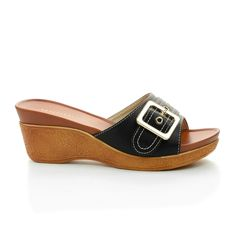 Mesa88 Buckle Slip On Textured Platform Mule Wedge Sandals