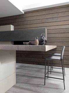 Ontbijtbar in moderne houten keuken met industriële uitstraling en betonlook - Modulnova Twenty Cemento