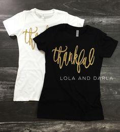 Thankful women's thanksgiving sparkle t shirt by LolaandDarla