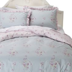 Misty Rose Blue Rose Bouquet Gray Scroll Twin King Simply Shabby Chic Comforter
