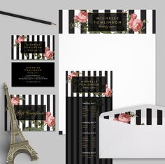 As seen on http://instagram.com/1201am.designs - Bold black + white stripes with vintage florals will make your brand pop! Available in business cards, social stationery and office supplies.