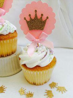 Set de 12 color rosa y oro Princess Cupcake Toppers