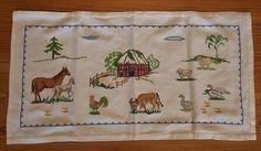 Vintage Hand Made Cross Stitch Farm Scene Table Topper Runner Animals Folk Art