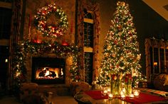 рождество, новый год, елка, камин, комната, праздник, christmas, tree