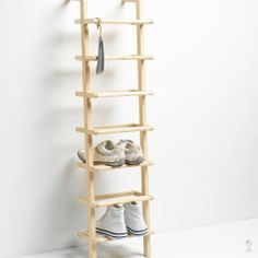 Wooden Ladder Shoe Rack - Tall at STORE. Simple yet stylish space saving shoe rack crafted from untreated ash wood. Shoe Rack Tall, Shoe Rack With Shelf, Wood Shoe Rack, Diy Shoe Rack, Shoe Racks, Rack Shelf, Wall Mounted Shoe Storage, Shoe Storage Shelf, Shoe Shelves