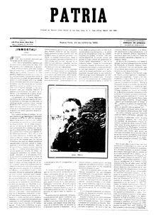 DÍA DE LA PRENSA CUBANA:   Hace hoy 120 años que José Martí fundara el periódico Patria