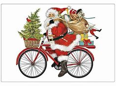 Charm your guests in the kitchen with a fabulous vintage look flour sack towel. By Mary Lake Thompson featuring a fun Santa delivery gifts on a retro red bike. Christmas Towels, Santa Christmas, Illustration Noel, Illustrations, Dish Towels, Tea Towels, Red Velvet Cake Mix, Christmas Drawing, Flour Sack Towels