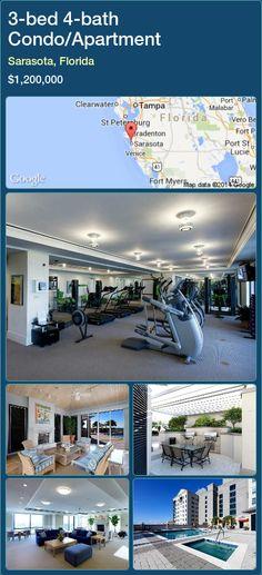 3-bed 4-bath Condo/Apartment in Sarasota, Florida ►$1,200,000 #PropertyForSaleFlorida http://florida-magic.com/properties/28142-condo-apartment-for-sale-in-sarasota-florida-with-3-bedroom-4-bathroom