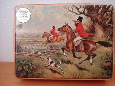English Confectionary Toffee Tin / fox hunt / horses / Riley's / decorative tin / hunting / english. $11.00, via Etsy.