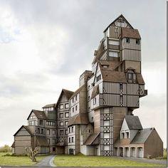 © Filip Dujardines un artista surrealista y fotógrafo belga (nacido en Gante el 14 de julio de 1971) especializado en fotomontajes para construir arquitectura imposible.
