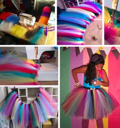"DIY Birthday Tutu!!   What you need:  TULLE! Since I used 8 colors, I bought 2 yards of each but had extra. I'd say its safe to get 8-14 yards, depending on length and how much pouf you want.  Sewing pins, scissors, thread  Ribbon that fits nicely around your waist (with some extra on the end if you want to fasten it onto you with a fancy bow)    Sewing machine (or you can sew by hand, just allow extra time)  1. Cut your tulle into pieces that are approximately 24""x20"". This is what"