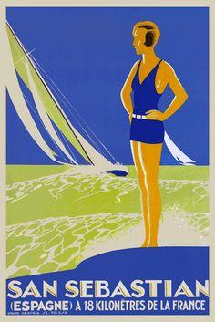 Donostia - San Sebastián Art Déco: Cartel turístico, Unión Gráfica S.L. Tolosa. Años 30