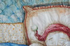 sleeping Watercolor Illustration, Watercolour, Tapestry, Illustrations, Home Decor, Pen And Wash, Hanging Tapestry, Watercolor Painting, Tapestries