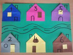 huis vouwen met nummers. rechte kruis en twee keer schuin. geef elk huis een nummer: even en oneven.