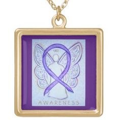 Orchid Awareness Ribbon Angel Jewelry Necklace