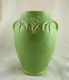 McCoy Pottery Vase with Raised Leaf Design