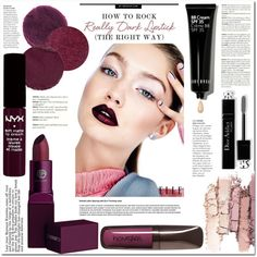 How To Rock Dark Lipstick by katrinaalice on Polyvore featuring косметика, Lipstick Queen, Hourglass Cosmetics, NYX, Bobbi Brown Cosmetics, Temptu, Ilia and Christian Dior