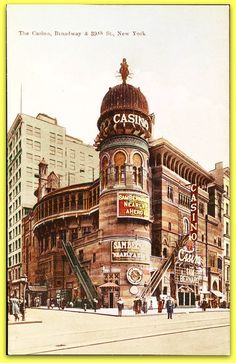 gone now- The Lost 1882 Casino Theatre on 39th Street and Broadway The Casino Theatre was a Broadway theatre located at 1404 Broadway, at West 39th Street in New York City. Built in 1882, it was a leading presenter of mostly musicals and operettas until it closed in 1930. B/W Photo Colourised by Pearse.