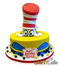 Cat In The Hat Cake Dr Seuss has always provided delightful fun characters and we love making them into cakes! This cake features the famous Cat in the Hat, and was made for Prince, on the occasion of his birthday. http://cmnycakes.com/gallery2/v/Cakes+For+All+Occasions/Cat+In+The+Hat+Cake.html