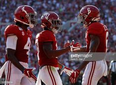 DeVonta Smith of the Alabama Crimson Tide reacts after scoring a touchdown against the Mississippi Rebels with Jerry Jeudy and Jaylen Waddle at. Crimson Tide Football, Alabama Football, Alabama Crimson Tide, Lsu, Peach Bowl, Colleges In Florida, College Football Playoff, Ole Miss, University Of Alabama