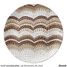 10.75'' porcelain plate with beige mosaic