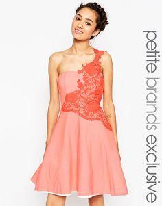277d14871ec9 John Zack Petite Prom With Floral One Shoulder Applique at asos.com