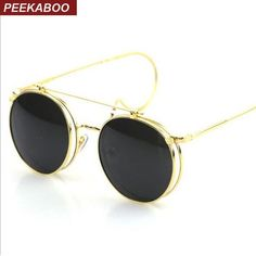 41bd1937121 FuzWeb Peekaboo steampunk round SUNGLASSES Unisex Metal vintage flat top  gold silver Sun eyewear UV400