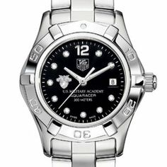 West Point TAG Heuer Watch - Women's Aquaracer with Black Diamond Dial by TAG Heuer. $2995.00. Authentic TAG Heuer watch only at M.LaHart & Co.. Unique TAG Heuer presentation box.. Swiss-made Quartz movement.. TAG Heuer international two-year warranty. Of