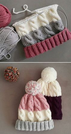 Cozy Cable Knit Hat - Free Pattern, knitting for beginners knitting ideas knitting patterns knitting projects knitting sweater Baby Knitting Patterns, Loom Knitting, Free Knitting, Crochet Patterns, Beginner Knitting, Vogue Knitting, Knitting Stitches, Loom Hats, Circular Knitting Machine