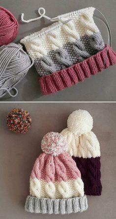 Free Knitting Pattern Loom Knitting, Baby Knitting Patterns, Free Knitting, Crochet Patterns, Beginner Knitting, Vogue Knitting, Knitting Stitches, Loom Hats, Circular Knitting Machine