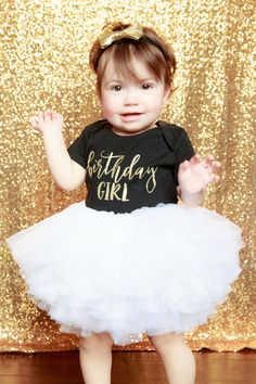 First Birthday Girl Outfit 1st Baby Girl by TheWhiteInviteGifts This first Birthday Girl outfit including an white tutu, custom shirt and gold bow is the perfect outfit for her first birthday party or cake smash and is sure to have everyone asking you where you got this precious outfit.
