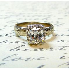 14k White Gold Vintage Antique Floral Engagement Ring ($525) ❤ liked on Polyvore
