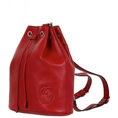Gucci Red Leather Drawstring Backpack ❤ liked on Polyvore featuring bags, backpacks, draw string backpack, genuine leather backpack, red backpack, drawstring knapsack and leather backpack