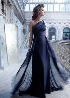 Indigo chiffon grecian gown, gathered empire bodice with keyhole at one shoulder, draped cummerbund at natural waist, softly draped waterfall A-Line skirt, sweep train.