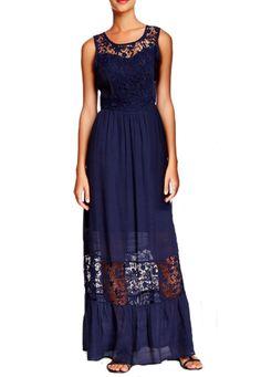 Blu Pepper Women's Navy Maxi Dress