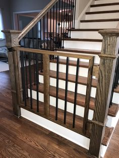 Custom child or pet gate. Dog Gates For Stairs, Stair Gate, Banister Baby Gate, Indoor Railing, Loft Railing, Stair Railing, Wood Baby Gate, Diy Baby Gate, Rustic Staircase